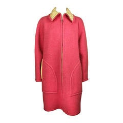 Courreges Mod Style Pink/Creme Wool Zip Coat