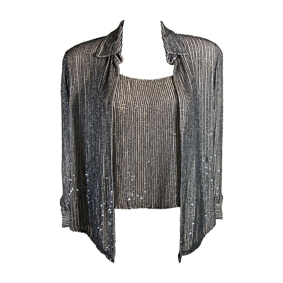 Oscar De La Renta Evening Blouse and Camisole Size 8 For Sale