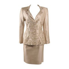 Oscar De La Renta Champagne Silk with Sage Embroidery Skirt Suit Size 10