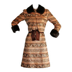 1960s Early Vintage Adele Simpson Metallic Brocade Dress & Mink Jacket