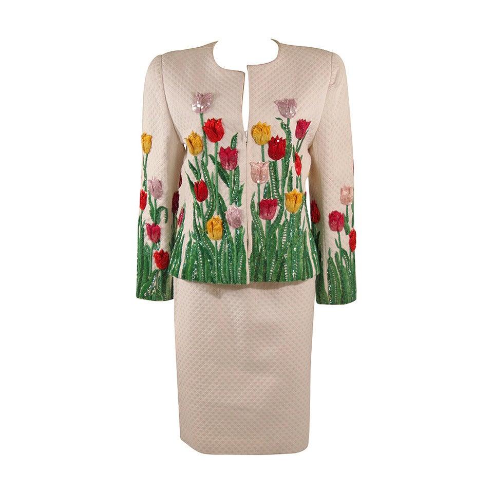 Oscar De La Renta Floral Embellished Suit Size 12