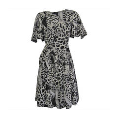 PAULINE TRIGERE Graphic Print Dress with Flutter Sleeve Detail