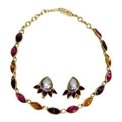 Marvelous Vintage Yves Saint Laurent Necklace & Earring Set