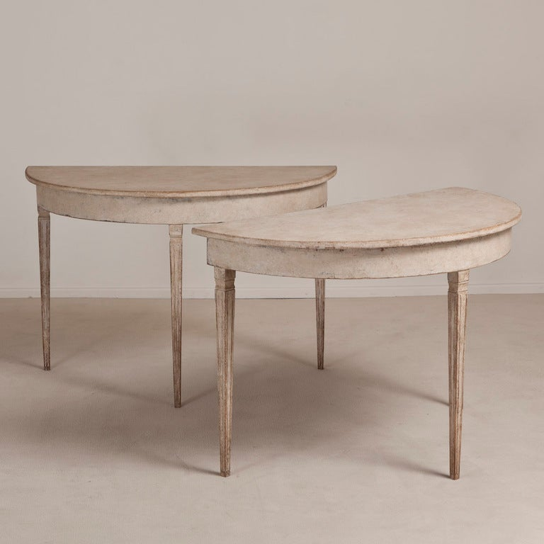 A Pair of 19th Century Swedish Demi Lune Console Tables image 2
