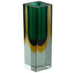 Small Rectangular Murano Sommerso Glass Vase
