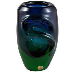 Chunky Czech Green and Blue Fused Glass Vase