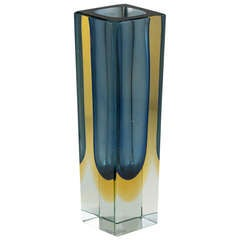Rechteckige Murano Sommerso Glasvase