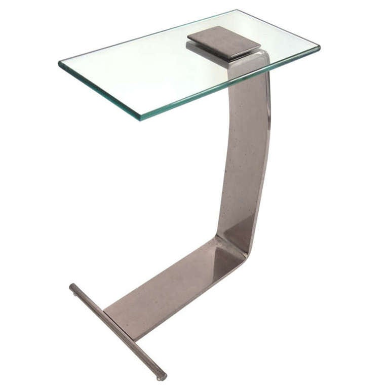 Nickel and Glass Side Table by Design Institute of America