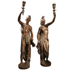 Pair of Bronze North American Indian Torchères
