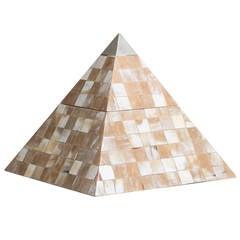 Maitland-Smith Tessellated Horn Lidded Pyramid Box, 1980s