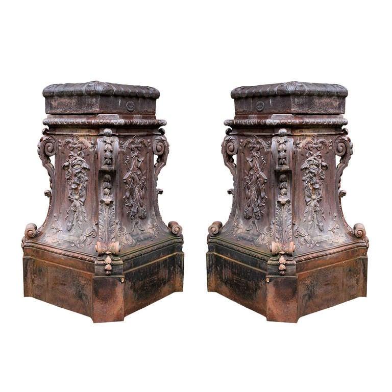 French 19th Century Cast Iron Pedestals