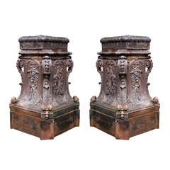 French 19th Century Cast Iron Pedestals