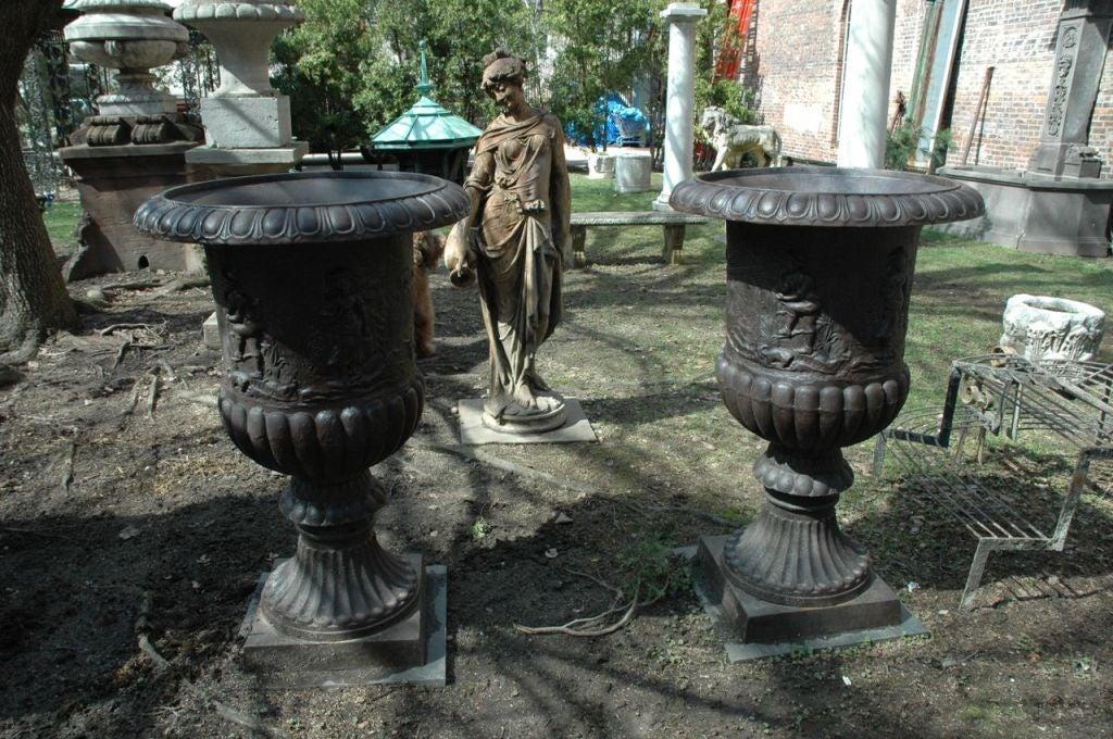 19th Century Massive Cast Iron Urns For Sale