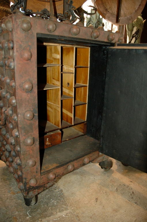Hobnail safe, American made by Delano, in New York, c.1837-1838.<br />