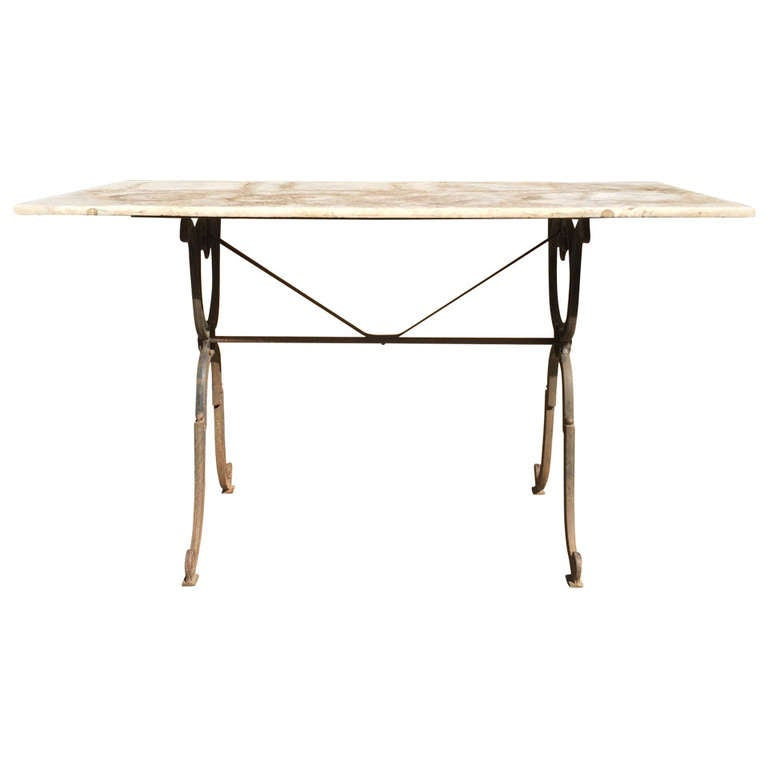 Cast iron garden bistro table with marble top at 1stdibs for Cast iron table base marble top