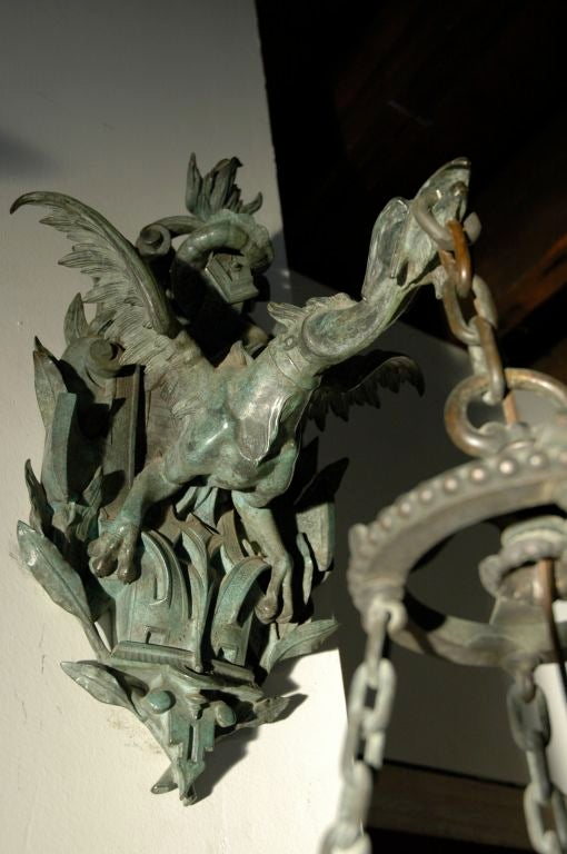 Bronze Wall Lantern with Fabulous Dragon Bracket In Good Condition For Sale In New York, NY