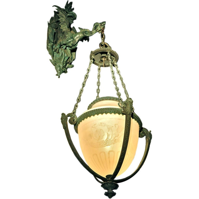 Bronze Wall Lantern with Fabulous Dragon Bracket For Sale