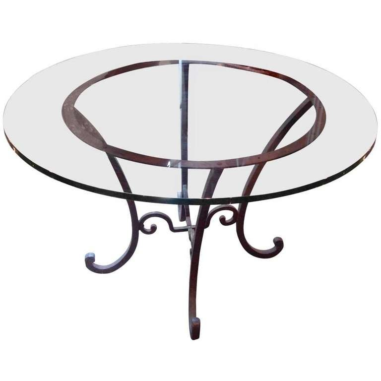 Round wrought iron table base at 1stdibs for Cuir center table basse