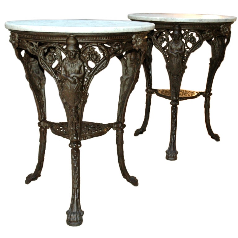 French Cast Iron and Marble Garden Tables at 1stdibs