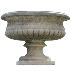 Pair of Large Italian Hand-Carved Urns