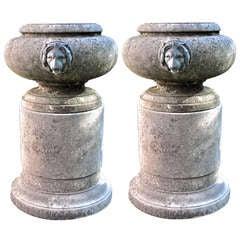 Unique Urns with Bronze Lion Heads on Pedestals
