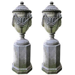 Hand-Carved Italian Covered Urns with Pedestals