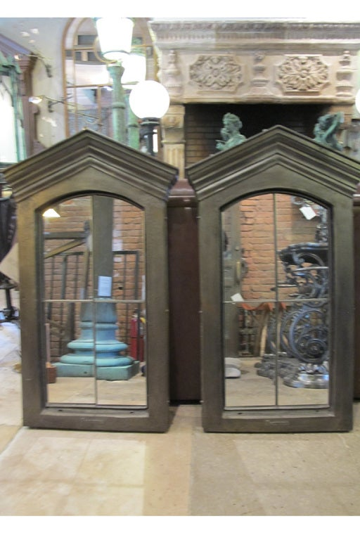 Cast Iron Window Surround from France with inset mirror. Signed by Freteval. Hand polished. One available.