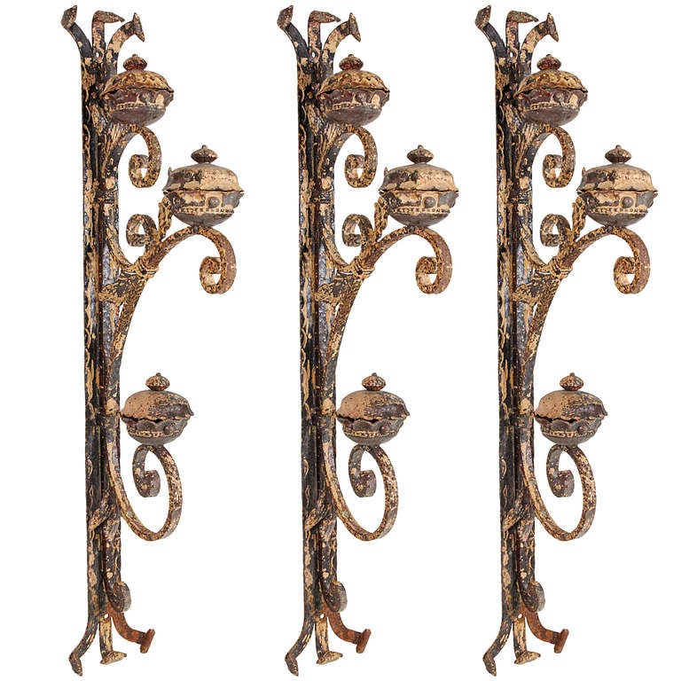 Three French, Late 1800s Forged Sconces