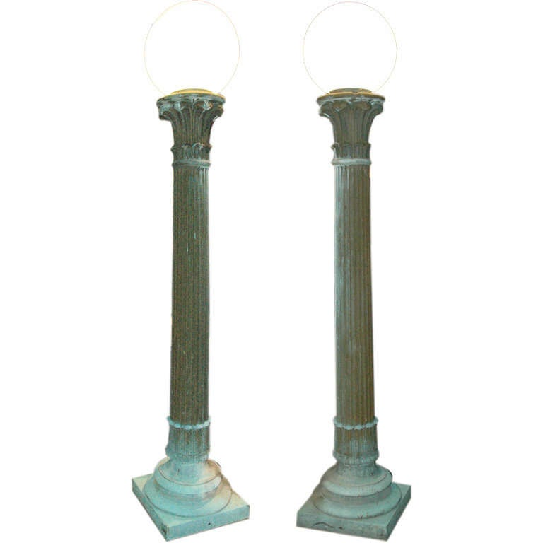 Exceptional Pair of Green Patinated Entry Lamps