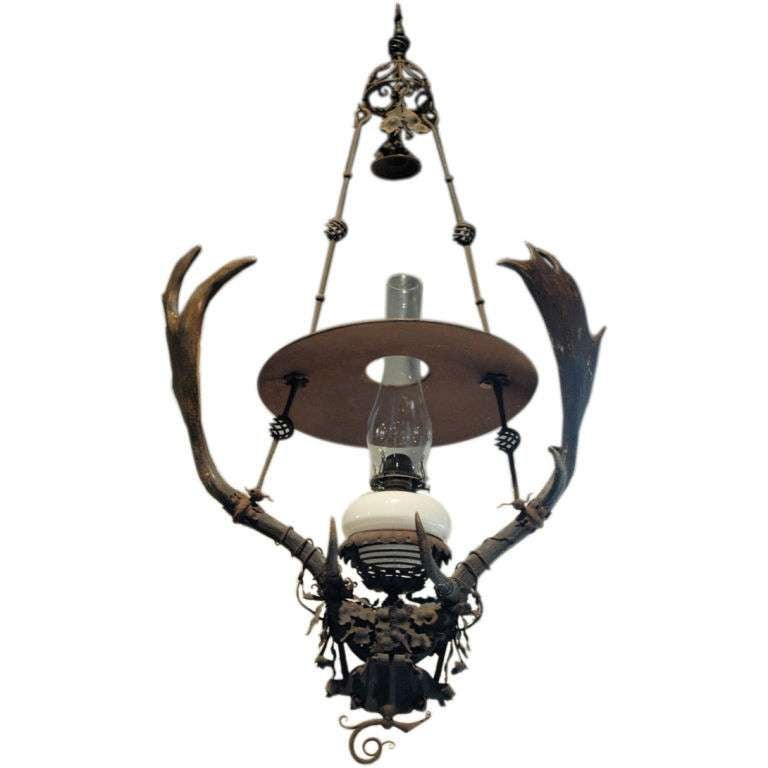 hand made wrought iron and horn light fixture at 1stdibs. Black Bedroom Furniture Sets. Home Design Ideas