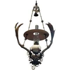 Handmade Wrought Iron and Horn Light Fixture