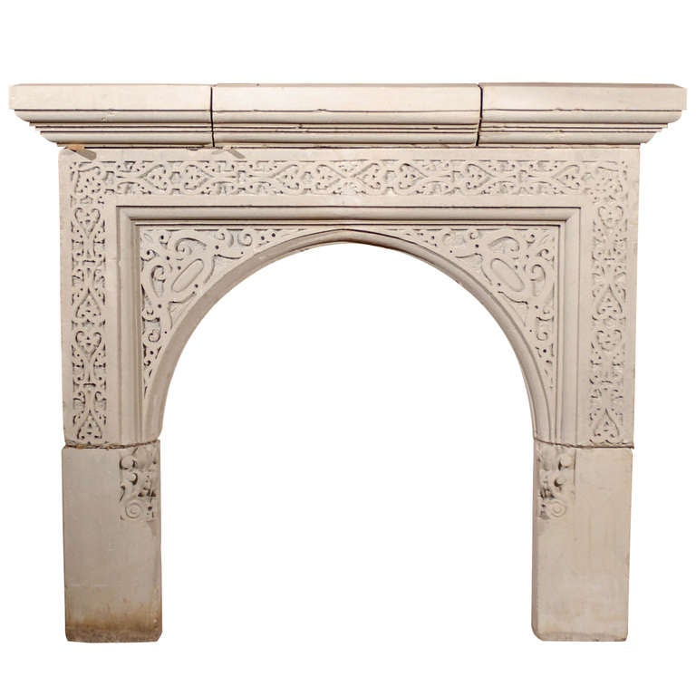 English 19th c carved stone gothic revival mantel at 1stdibs