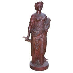 French Neoclassical Cast Iron Figure, Allegory of Agriculture