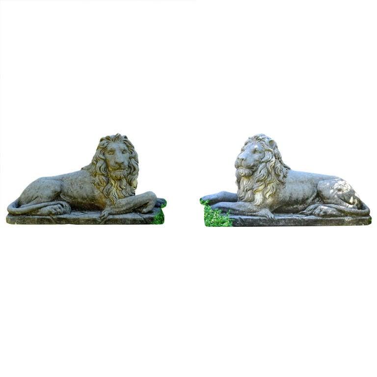 Reclining Hand-Carved Italian Limestone Lions