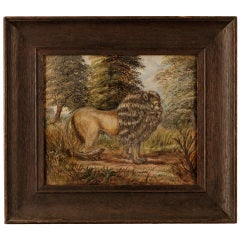 A Pair Of Paintings Depicting A Lion and Tiger In A Forest Landscape