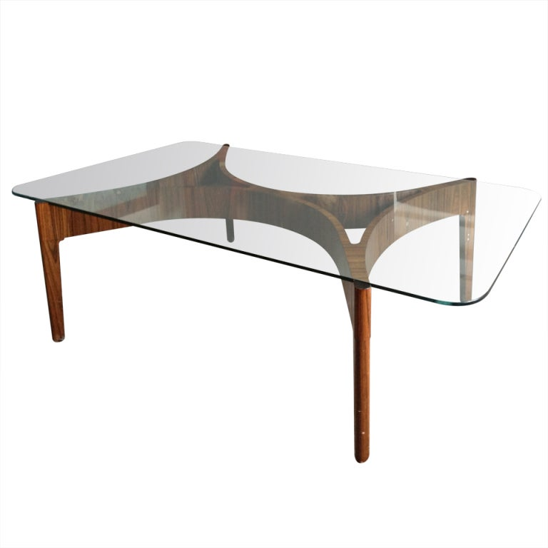 1950s zebra wood coffee table with glass top at 1stdibs for Wood and glass cocktail tables
