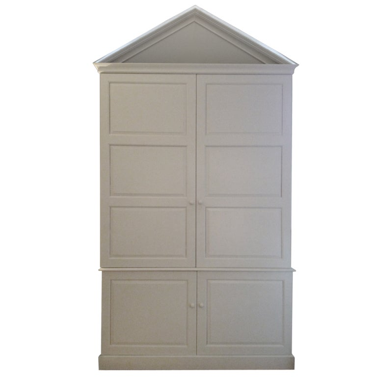 Large white painted pine kitchen cabinet at 1stdibs for Painting pine kitchen cabinets white
