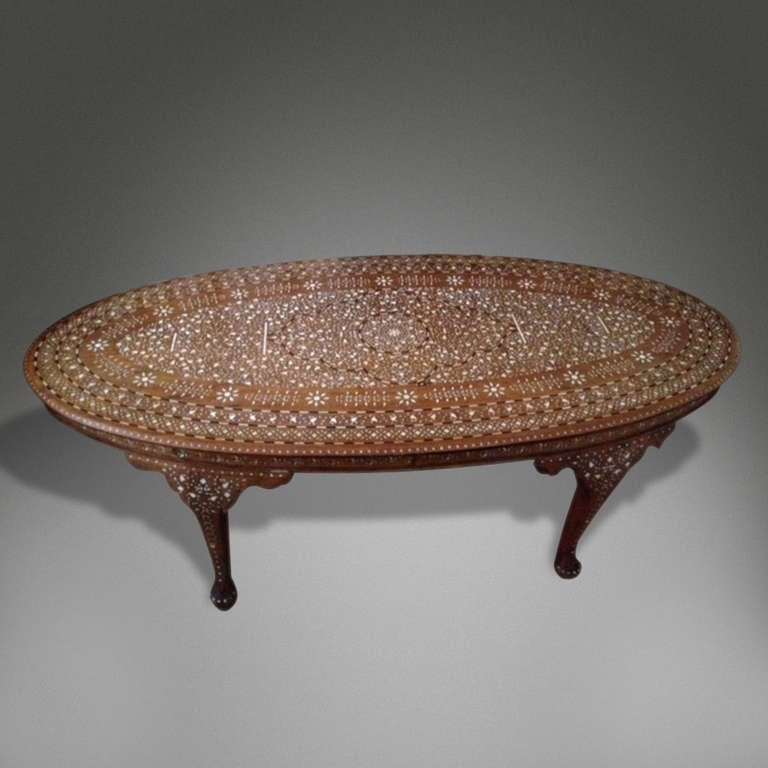 Oval Inlaid Coffee Table For Sale At 1stdibs