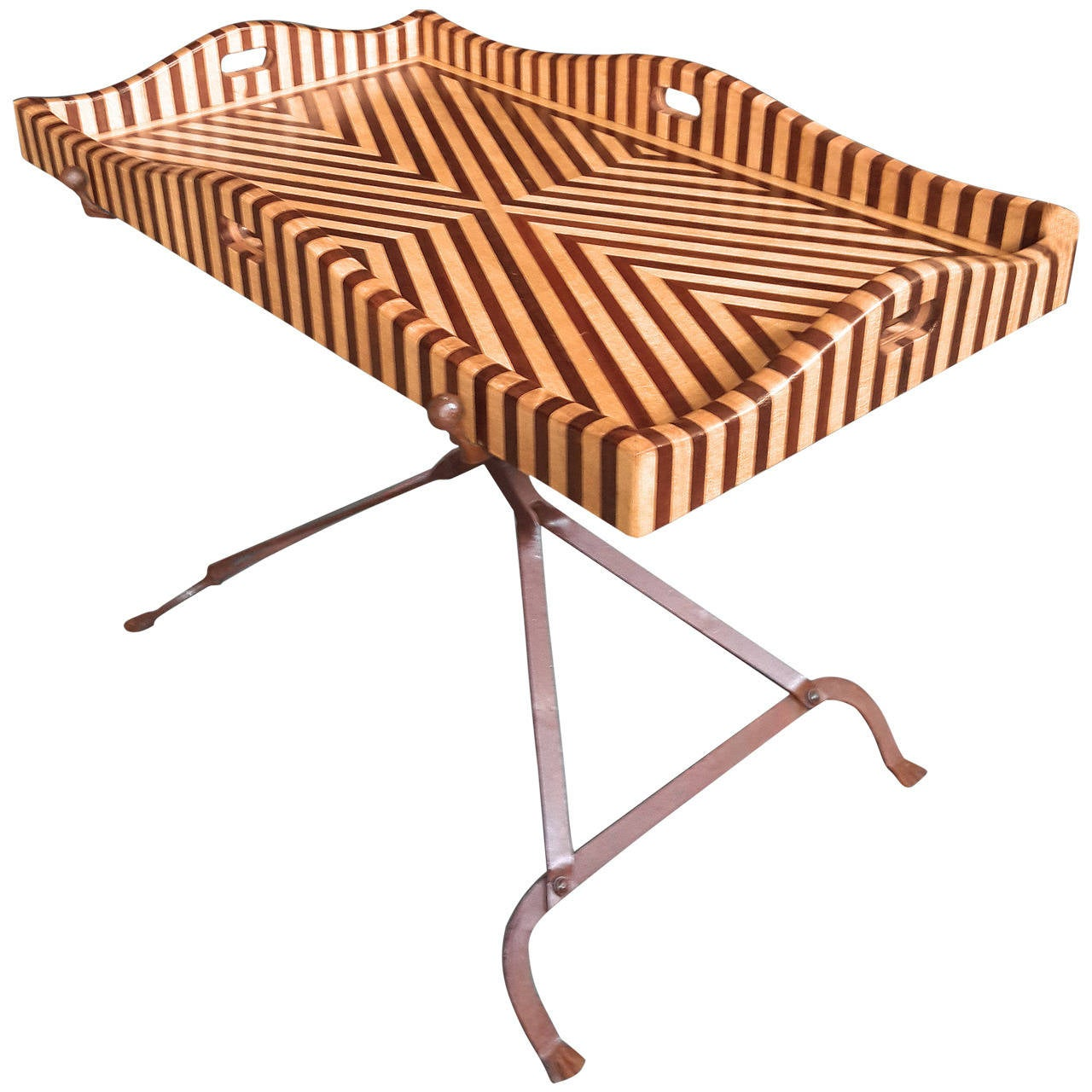 Striped Hard Wood Tray Table on Aged Steel Base, Design by Bill Willis