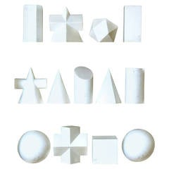 Set of 14 Plaster Geometric Shapes
