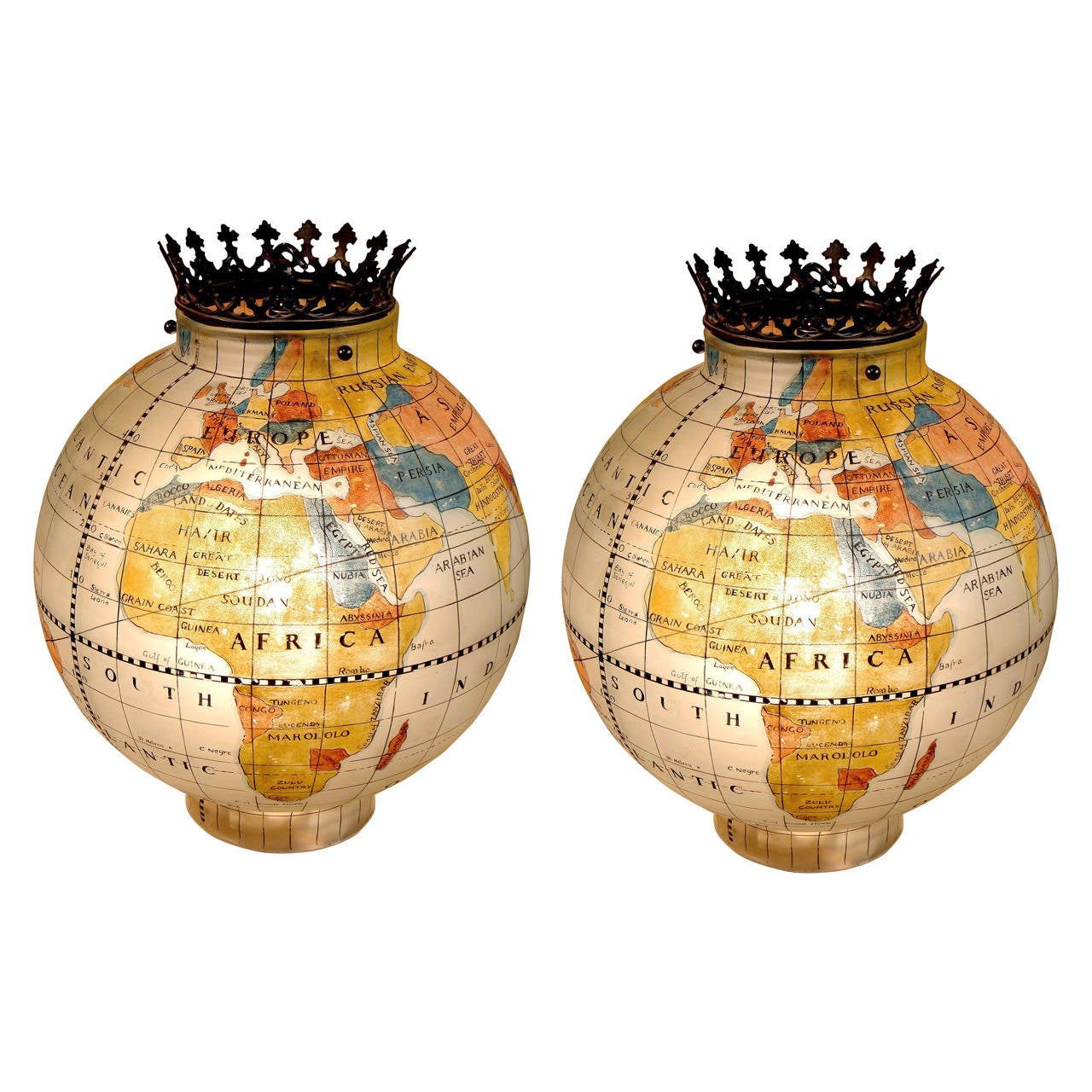 Pair Of Painted Glass Globes Terrestrial And Astrological