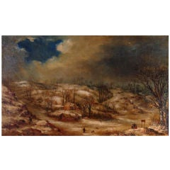 An Oil Painting of a Snowy Scene by Landscape Painter William Stone