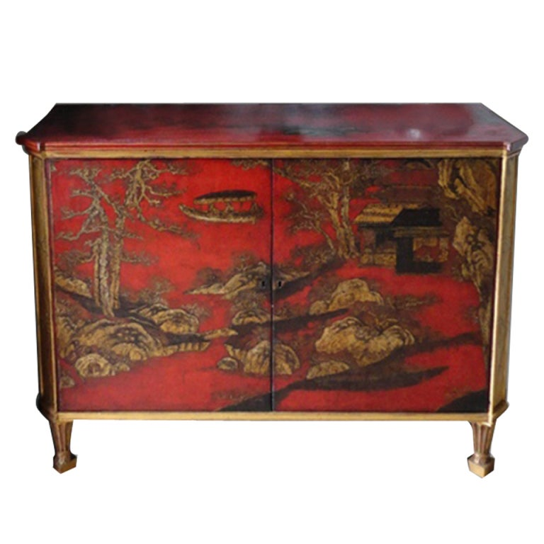 Rare Chinoiserie Red And Gold Lacquer Cabinet At 1stdibs
