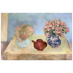 Still Life With Teapot and Flowers Oil on Canvas