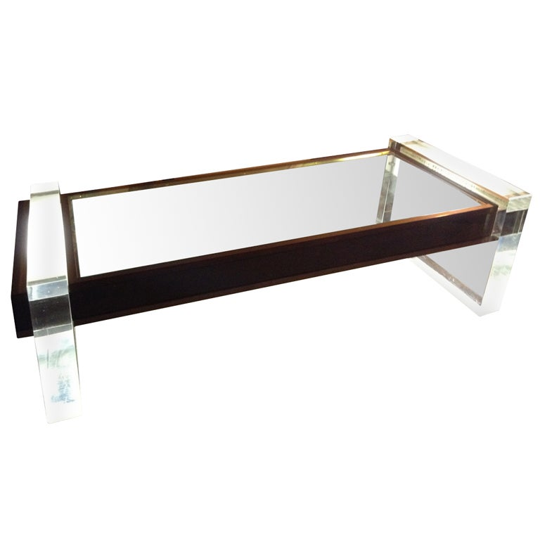 Illuminated, Glass and Perspex Coffee Table. For Sale