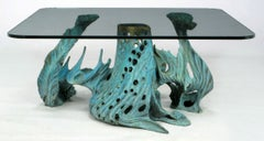 Bob Bennett Cast and Turquoise Patinated Bronze Abstract Sculpture Table