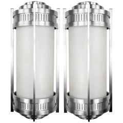 Massive Stainless Steel Art Deco Revival Sconces