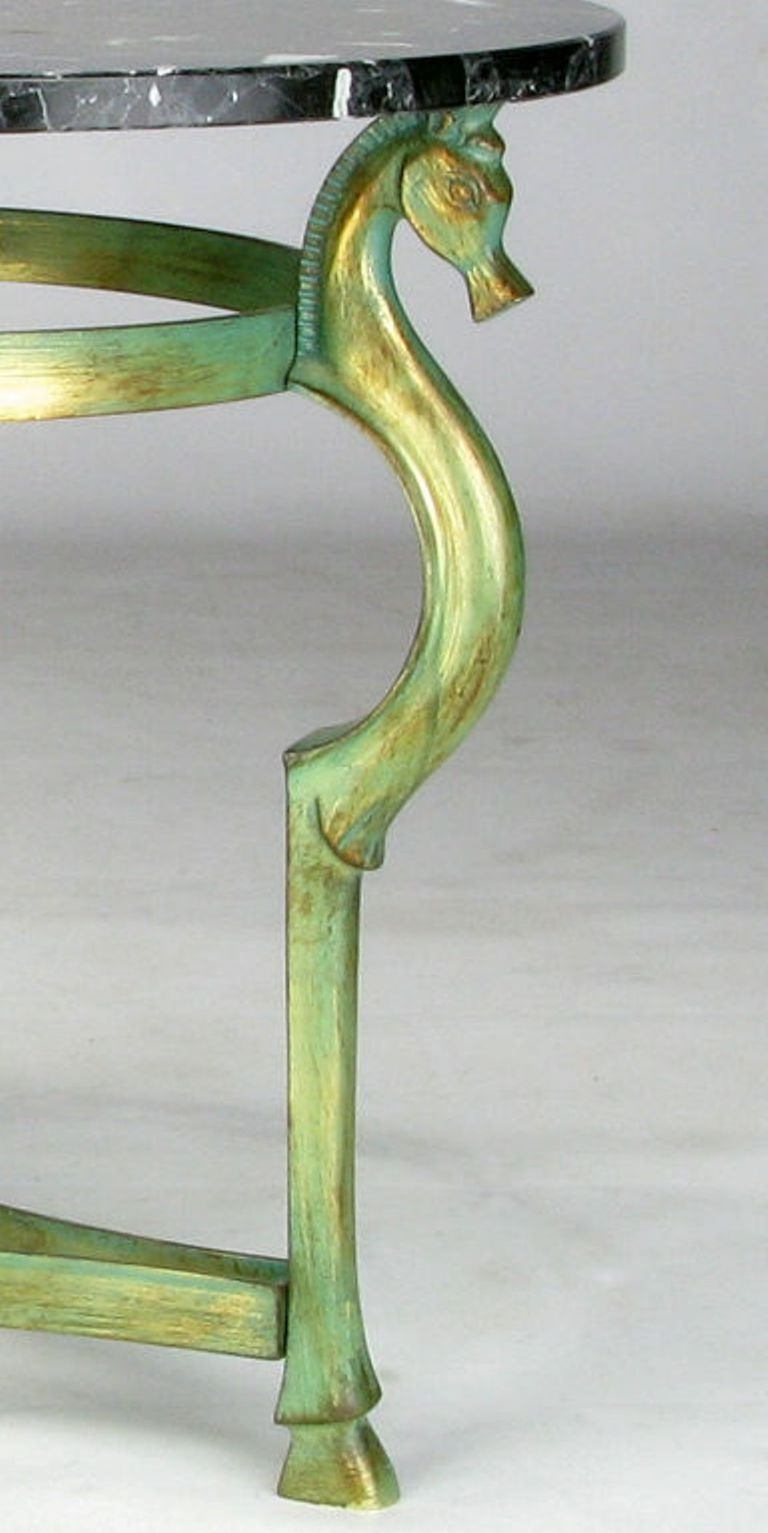 Marble Italian Verde Bronze End Table with Sea Horse Heads and Hooves For Sale