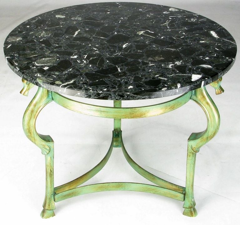 Italian Verde Bronze End Table with Sea Horse Heads and Hooves In Good Condition For Sale In Chicago, IL