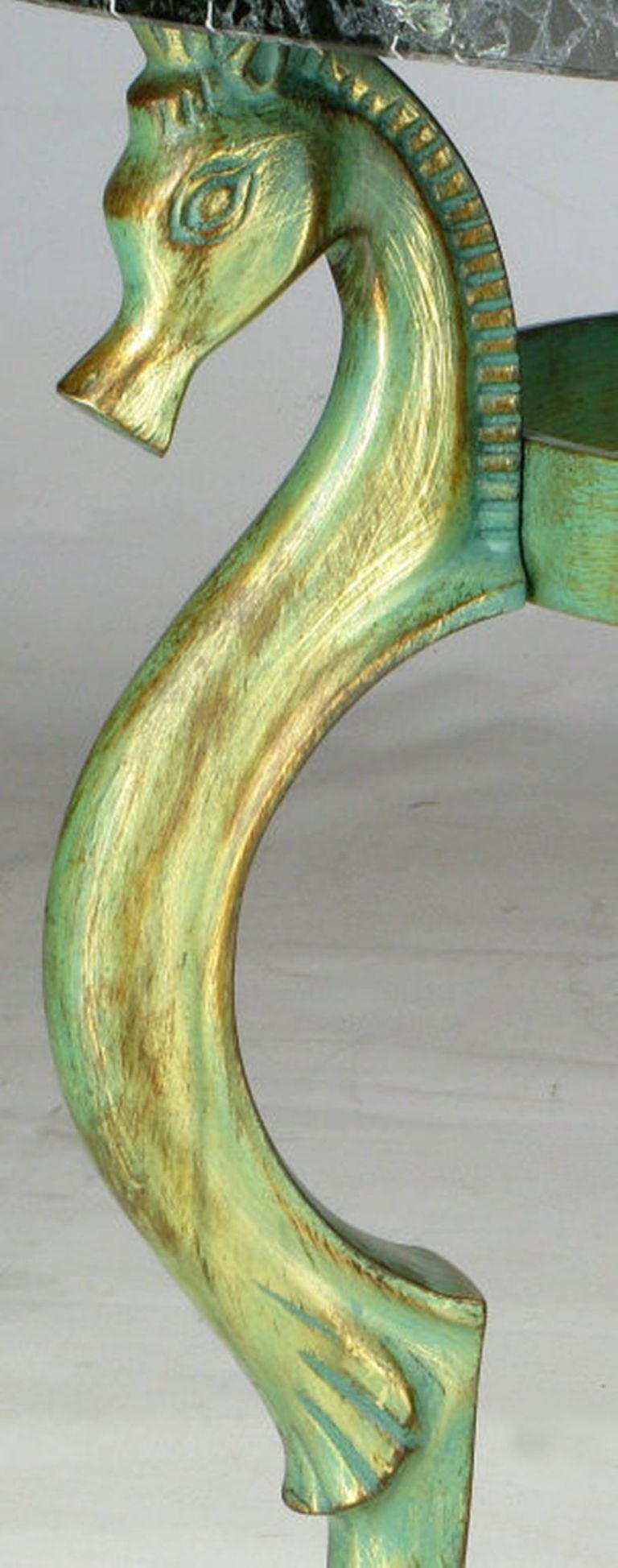 Mid-20th Century Italian Verde Bronze End Table with Sea Horse Heads and Hooves For Sale